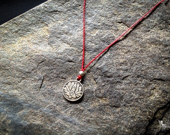 Red string Lotus Medallion Necklace yoga meditation crimson thread boho jewelry by Créations Mariposa