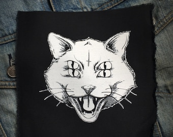 Four Eye Cat  patch, Punk Patch, Horror, Black