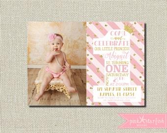 Princess Birthday Invitation, Princess Birthday, Princess Invitation, Pink and Gold, Glitter, First Birthday Invitation, Princess Party