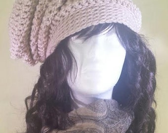 Hand-Crocheted Satin-lined Slouchy Beanie Hat