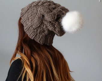 Chunky Slouchy Brown Hat -  Handmade Knitted Slouchy Hat with PomPom - Ladies Winter Hat -  Winter Hat for Women - Chunky Wool Hat -