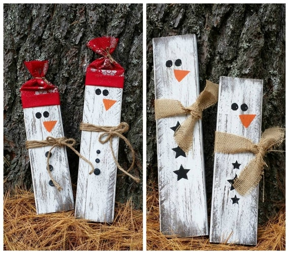 christmas wood crafts distressed rustic wooden snowmen decor reclaimed 1315