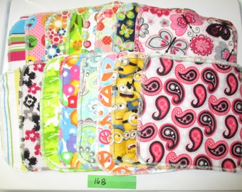 16 Double Sided Flannel Family Cloth Wipes Girl Flowers Butterfly Prints Cloth Wipes Diaper Bag Wipes Sustainable Unpaper Napkins (16B)