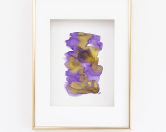 Small Modern Abstract Ink Painting, Purple, Yellow Pebbles, Paper Art, Elizabeth Ellenor