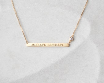 Skinny Coordinates Bar Necklace with Birthstone - Custom Coordinates Necklace - Personalized ...