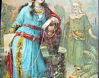 Vtg Trade Card Dr Jaynes Expectorant Biblical Rebekah at Well