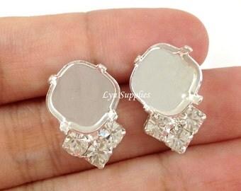 12x12mm Cushion Earrings Settings Fits 12mm 4470 With 3 Swarovski Crystal Rhinestones 1 Pair