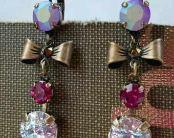 ERICA - Swarovski Crystal White Patina and Fuchsia earrings