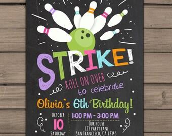 Bowling Birthday invitation Bowling Birthday Party Invitation Pink purple Girl birthday Girl Bowling Chalkboard Digital PRINTABLE ANY AGE