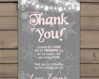 Winter ONEderland Thank you card Girl Birthday Snowflakes Thank you card Pink Grey  Onederland Winter birthday party Digital PRINTABLE wog