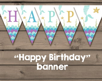 Mermaid Birthday banner Happy Birthday banner mermaid party Flag Bunting Happy birthday Purple Gold Turquoise download PRINTABLE DIGITAL DIY
