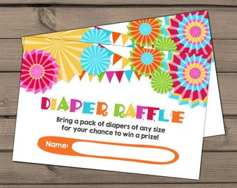 Baby shower Diaper raffle card Fiesta Baby shower game Fiesta Diaper raffle ticket Mexican baby shower Mexican Diaper raffle DIY PRINTABLE