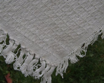 """Handwoven Cotton Shawl, Vintage Jacquard Throw, Handwoven In India, White/Off White Cotton Fringed Wrap, 50"""" by 60"""", Peasant, Boho, Like New"""