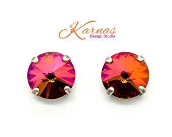 CRYSTAL MAHOGANY 12mm Rivoli Stud or Post Earrings Made With Swarovski Elements *Pick Your Finish *Karnas Design Studio *Free Shipping*