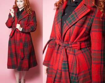 1970's Tartan Plaid Tie Belted Trench Coat