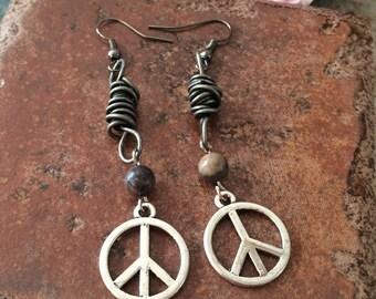 Rustic Gunmetal Wire Wrap Pewter Peace Sign Earrings