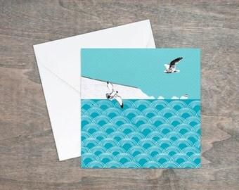 Coastal birthday card, cliffs and sea, seaside card, seagulls, lighthouse card, ocean,