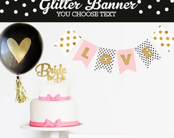Bachelorette Banner - Bachelorette Party Banner Decorations - CHEERS Banner - Hot Pink Black & Gold Bachelorette Decorations -  (EB3062)