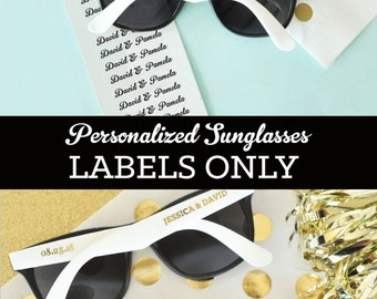 Sunglasses LABELS ONLY (EB3120) - Set of 48| CLEAR labels with personalized text