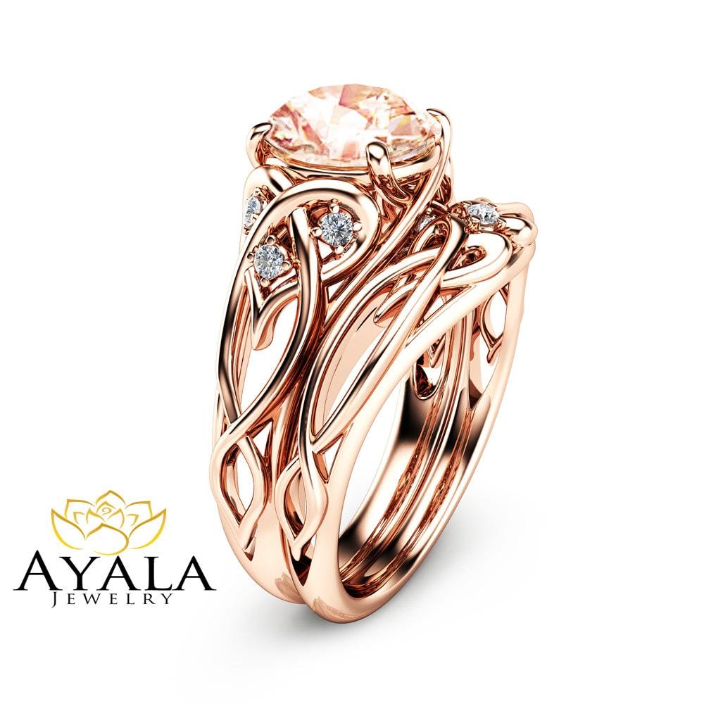 2 carat morganite engagement rings 14k rose gold ring set