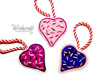 set of 3 candy love hearts with icing and sprinkles - valentines day - christmas decoration
