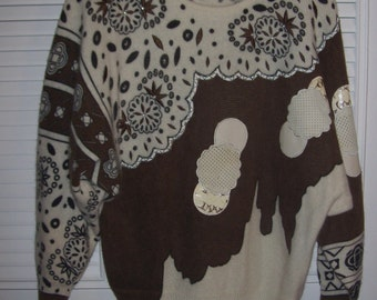 Vintage 80's Lambs Wool Sought-After Fun Sweater  by Sabini Size XL