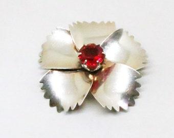 Red Floral Brooch - Vintage, Sterling by Jordan Signed, Red Rhinestone Pin