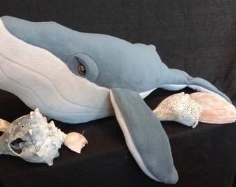 Fleece Whale Stuffed Animal, humpback whale, nautical theme, boy's nursery, ocean decor