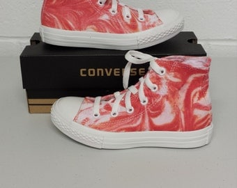Youths size 13 Converse All Stars, red tie dye converse, red marble look shoes, tie dyed kids converse shoes, converse high tops