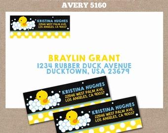 Rubber Duck Return Address Labels, Rubber Duck Baby Shower Labels, Rubber Duck Baby Shower, Rubber Duck Baby Shower, #0001