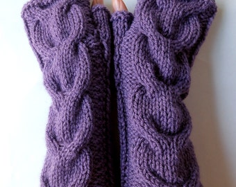 Hand Knitted Cable Fingerless Gloves. Purple or 44 Different Colors. Arm Warmers with Bulky Braids. Warm Accessory for Women and Teens.