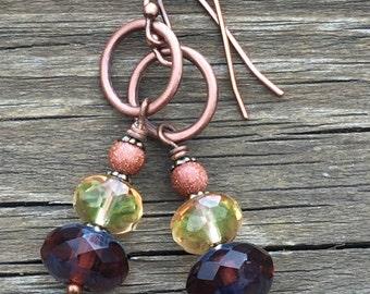 Multicolor earrings/cut glass/blue glass/yellow glass/copper/tigers eye/stone/stacked earrings/stacked beads/bohemian/artsy earrings/shimmer