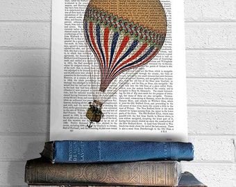 Le Tricolore Hot Air Balloon Print - Balloon Illustration hot air balloon decor french style décor french décor country home décor wall art