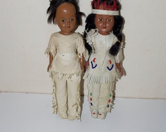 Vintage Native American Indian Girl Woman Dolls in Leather Outfits 11""
