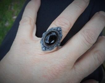 Black ring, black onyx ring,womens black ring,size 8 ring, gothic rings,gothic ring, black onyx rings,oxidized ring, oval ring,goth ring