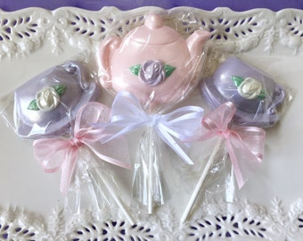 Tea Party Favors Teacup and Teapot Chocolate Lollipops for Bridal Shower, Tea Party, Mother's Day Gift, Kid's Birthday Party