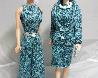 Hand Knit Barbie Clothes 60s Mod Style Barbie Clothing 2 in 1 Barbie Outfit: Dress, Jacket, Jumpsuit, Purse and Jewelry - Dolls Not Included