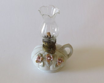 Porcelain Oil Lamp – Hand Painted Pink Flowers with Leaves ~ Cottage Chic Décor ~ Vintage Oil Lamp ~ Small Oil Lamp ~ Shabby Chic