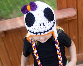 Crochet Beanie Hats/Halloween Beanie/ Skeleton Crochet Beanie/Girls skeleton Beanie/Scary Christmas/Holiday Beanies/Gift/Girls Beanie Hat