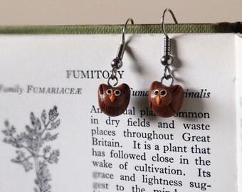 By the Shed Owl Bird DROP Earrings - Dangle, Hanging Hook - Brown - Bird of Prey, Bird Watching, Wildlife, Falconry, Gardener Present, Gift