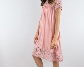 lace trimmed summer dress S to XL
