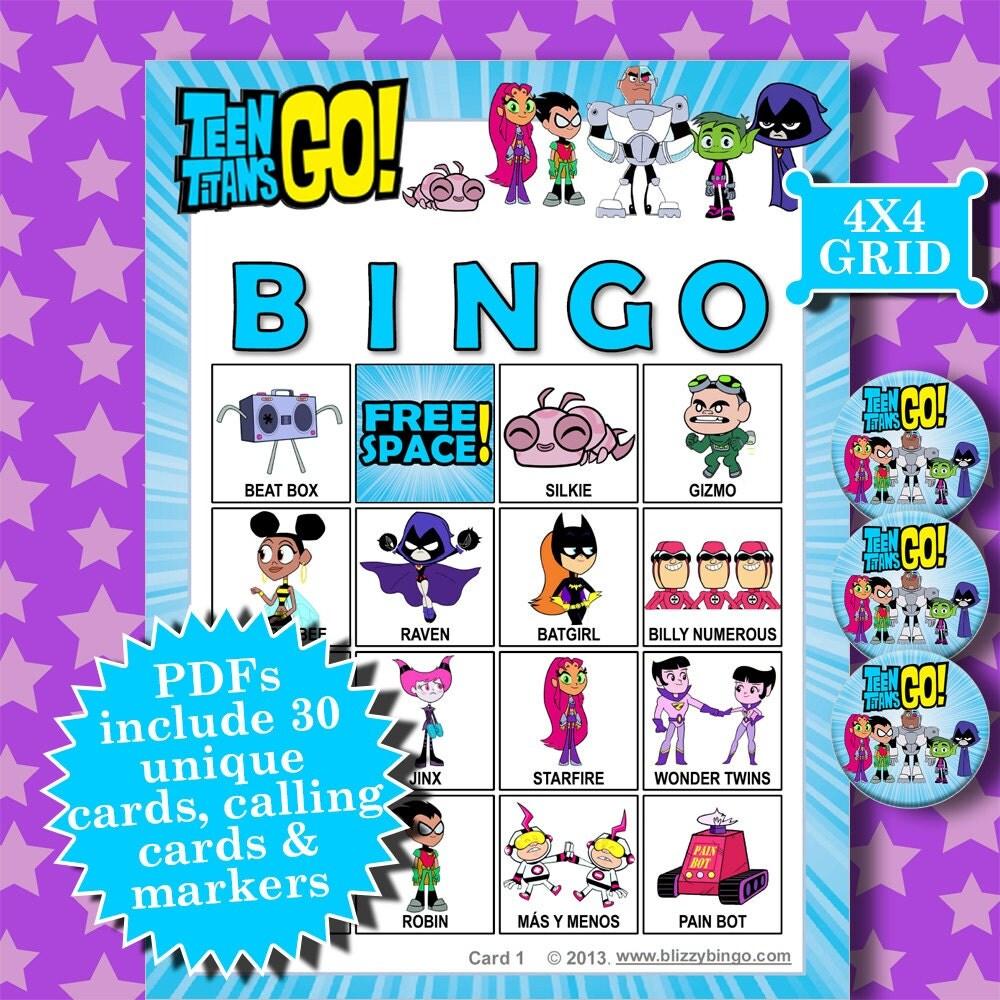 4x4 bingo template - teen titans go 4x4 bingo printable pdfs contain everything