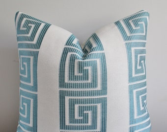 Greek Key Pillow Cover // 18x18, 20x20 Square Throw Pillow, Accent Pillow, Toss Pillow 22 24 26 Euro