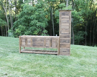 Rustic Tall Storage Reclaimed Barn Wood Cabinet W Tin Doors