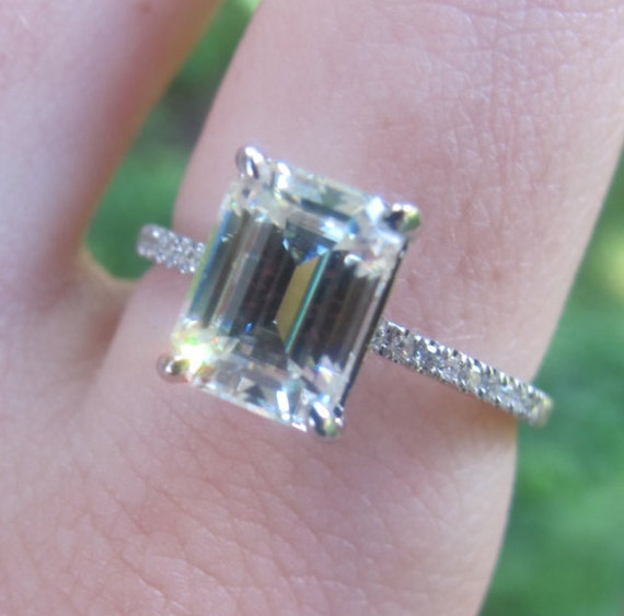 Emerald Cut Moissanite Engagement Ring, 8x6 Emerald Cut Ring, Thin Band Engagement  Ring,