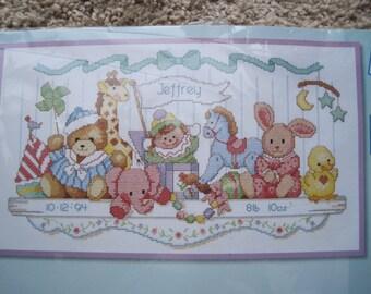 "Cross Stitch Kit - Toy Shelf Birth Record - by Dimensions #3729 - 16"" x 9"" - NEW NIP - Vintage 1992"