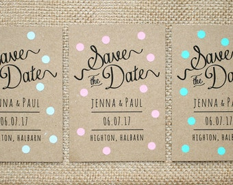 Pastel Polka Dot Kraft Save The Date Card