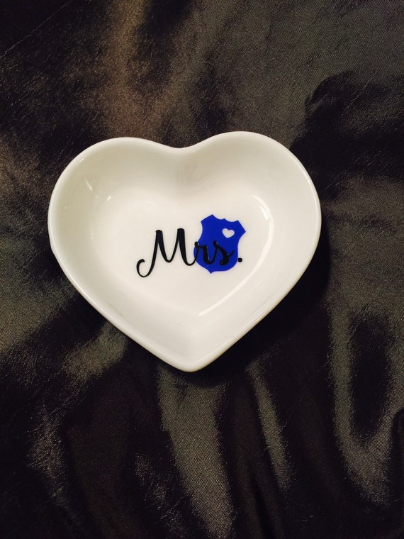 Mrs police wife ring dish heart ring dish by for Heart shaped jewelry dish