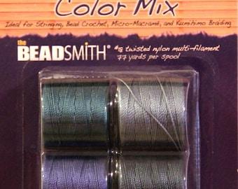 "S-LON, Bead Cord, 4 Color Mix ""DEEP BLUE"",  Kumihimo Cording, Extra Heavy #18 Twisted Nylon Cord"
