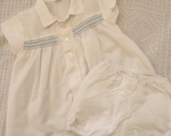 Gorgeous vintage baby toddler shirt/dress and bloomers set with blue smocking. Approx size 1/2.